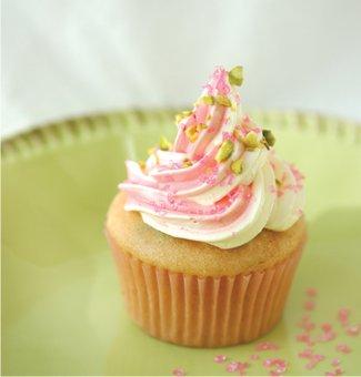 vegan pistachio rosewater cupcake